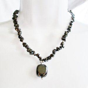 Jewelry - Handmade HEMATITE Stone Bead NECKLACE Lucky